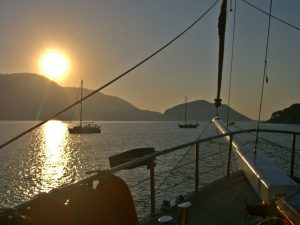 Enjoy the sunset witha cocktail on a gulet cruise