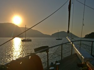 Sunset cocktail aboard your yacht gulet