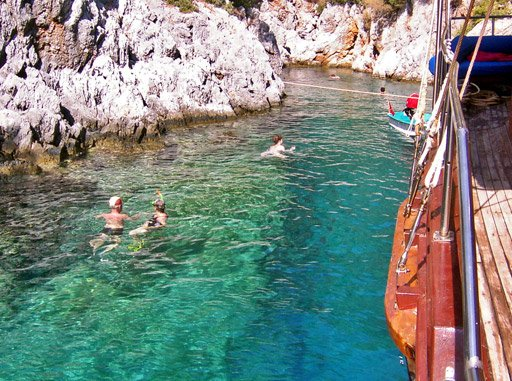 Swimming in a cove from the gulet in Turkey