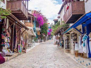 Cobbled shopping street in Kaş